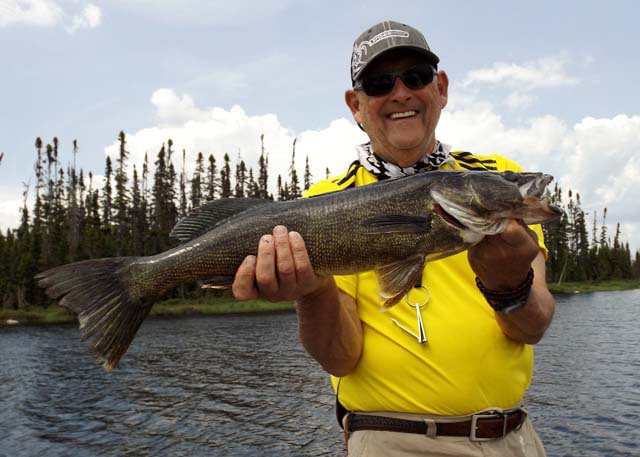 Walleye trophy by Bob Casto on Hannotaux Lake