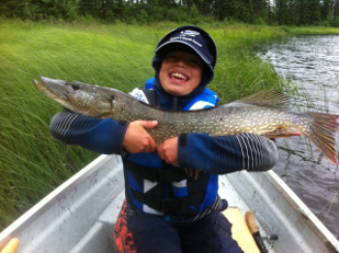 My son Tyler was very proud of this pike that he caught in raining conditions...