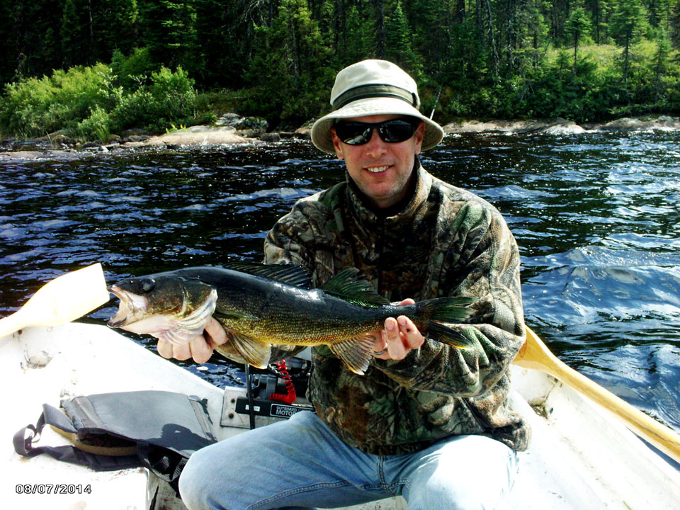 Walleye fishing trophy for Olivier and friend on Impossible Lake