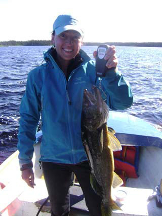 Valerie Leclerc on Little Gouin Nice Walleye trophy