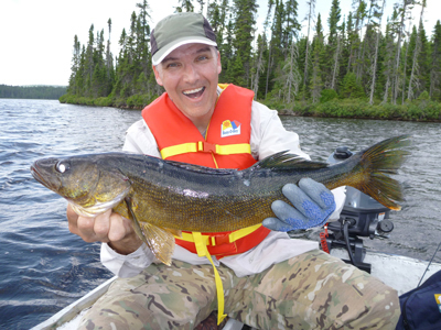 Eric Bolduc's group at Lake Simard Walleye a pike trophy
