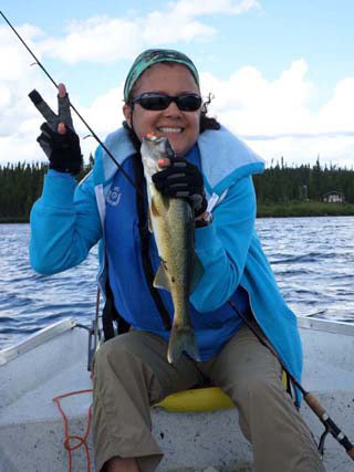 Wanda Pareira on Nancy's Lake proudly walleye catch