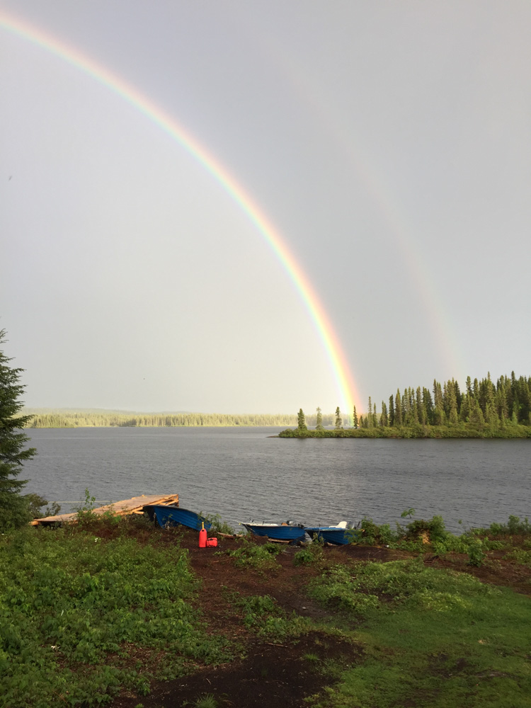 Double rainbow at Lake Impossible by Tom Bosler